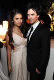 Ian Somerhalder and Nina Dobrev were invited to the Vanity Fair cocktail reception following this year's White House Correspondents' Association Dinner in April 2011.