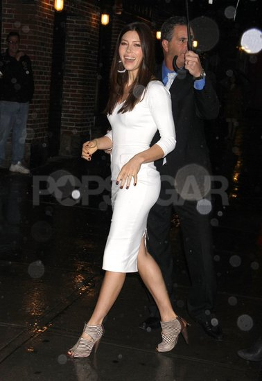 Jessica Biel Works a White Hot Victoria Beckham Dress For Dave