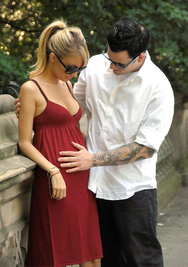 Joel Madden touched Nicole Richie's baby bump during a walk around Central Park in July 2007.