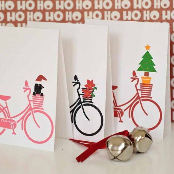 What better way to spread holiday cheer than with a personal bike delivery?   Bicycle Merry Christmas boxed card ($21 for 12 cards)