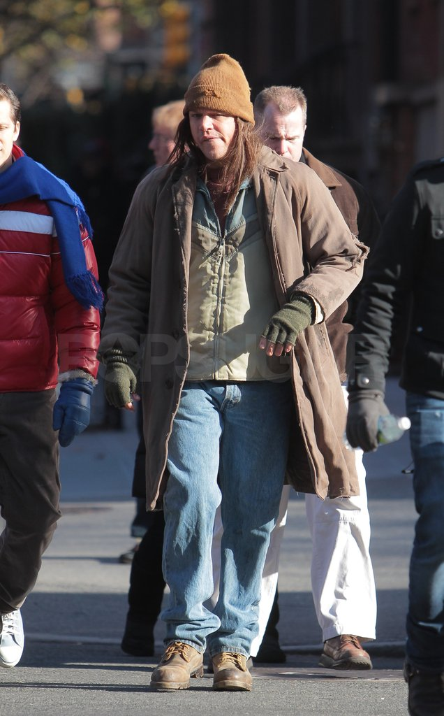 Matt Damon arrived on set wearing lots of layers.