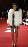 Paula Patton warmed up her minidress in a fur coat.