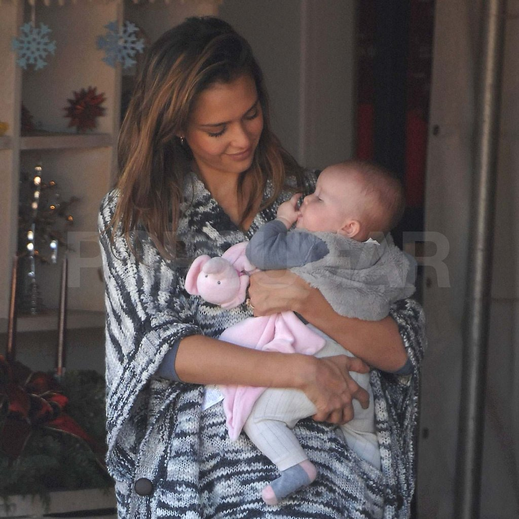 Jessica Alba carrying Haven at the Christmas tree farm.