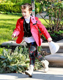 Kingston Rossdale ran to his car in LA.