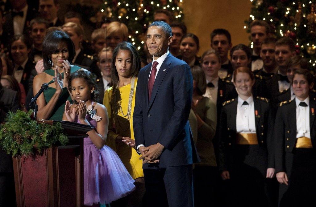 The Obama family speaks at the annual Christmas in Washington event.