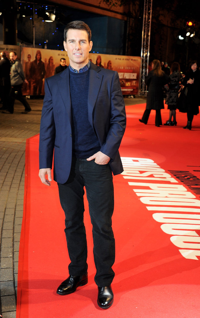 Tom Cruise looked dashing in shades of navy for the UK premiere.