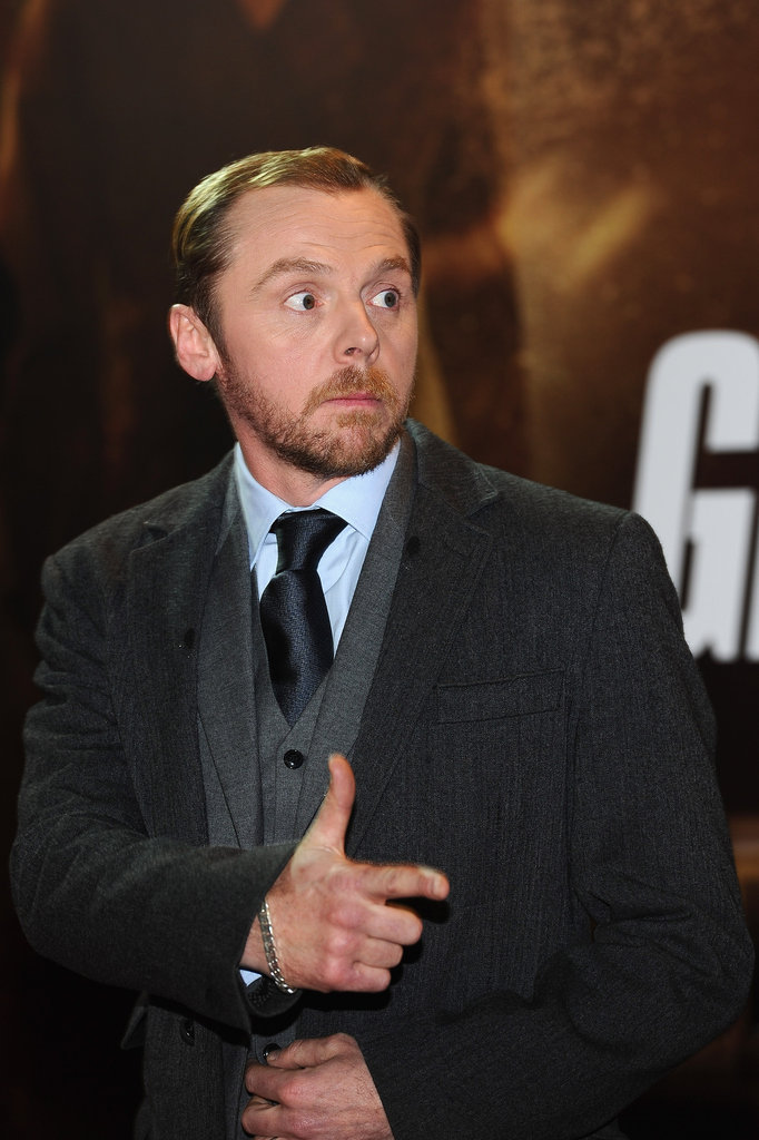 Funnyman Simon Pegg joked with fans and photographers before the screening.