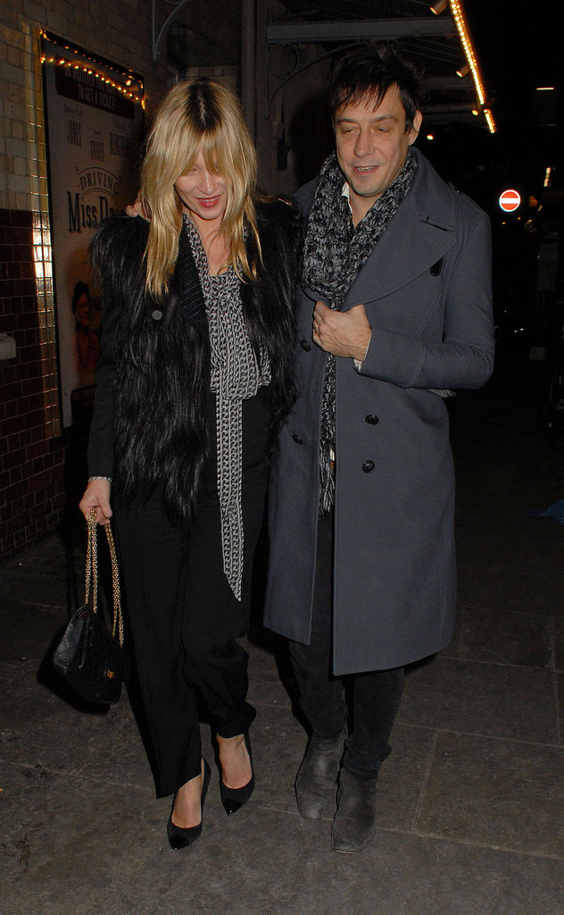 Jamie Hince and Kate Moss were arm in arm as they left dinner.