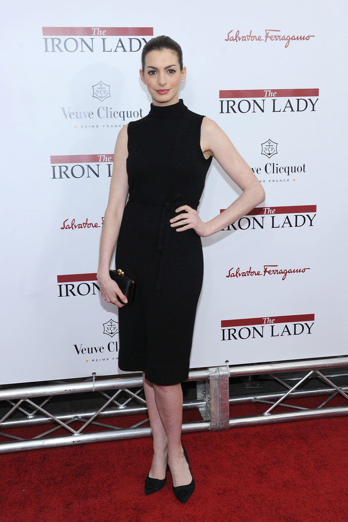 Anne Hathaway posed on the red carpet at the NYC premiere of The Iron Lady.