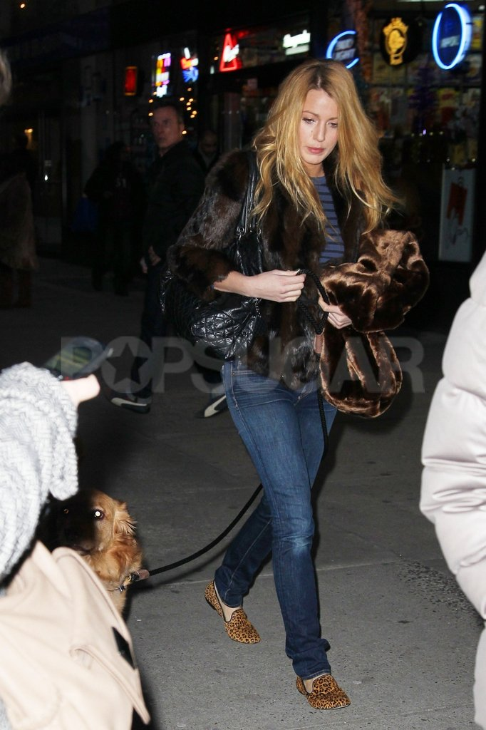 Blake Lively walked her boyfriend's dog after filming Gossip Girl.