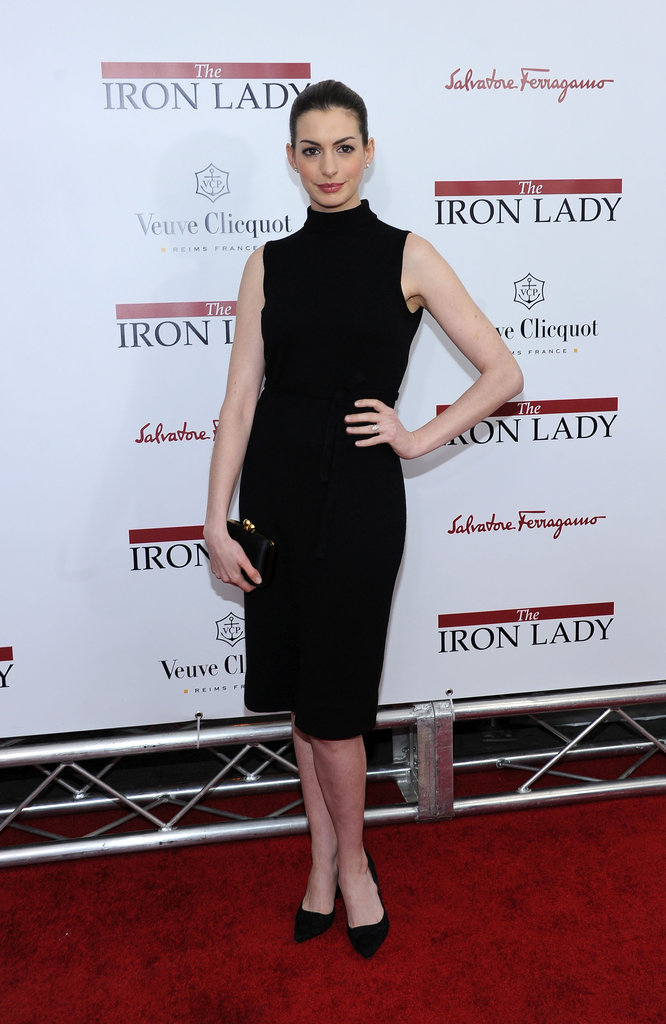 Anne Hathaway came out for the NYC premiere of The Iron Lady.