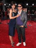 Katie Holmes and Tom Cruise looked flirty on the red carpet at his LA premiere of Tropic Thunder in August 2008.