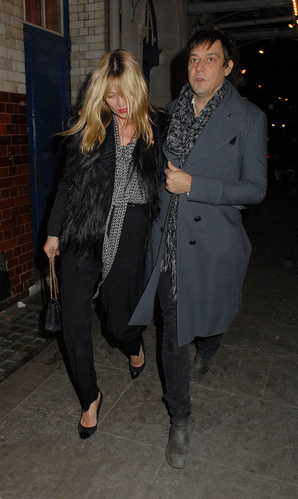 Kate Moss and Jamie Hince kept close during a night out.