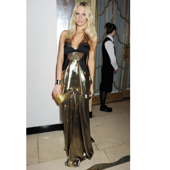 Poppy Delevingne went for head-to-toe draped lamé at the Harper's Bazaar Women of the Year Awards in November 2011.  Shop the look: