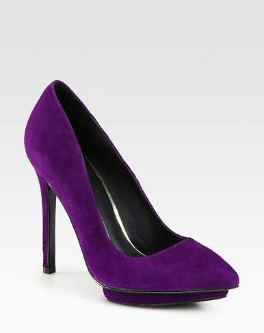 These purple pumps can be easily paired with dressy trousers or flirty dresses.  Dolce Vita Bella Suede Point-Toe Pumps ($139, originally $199)