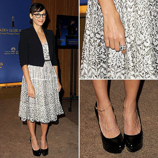 Rashida Jones Wearing a Blazer and Lace Dress December 2011