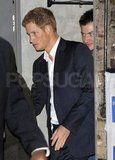 Prince Harry wore a suit in London.