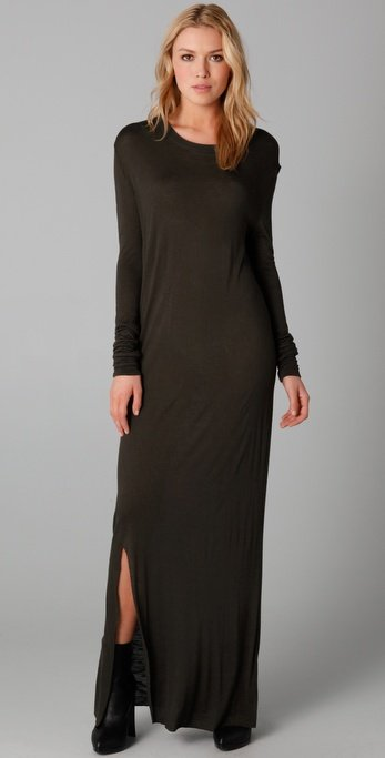Minimal, but still sultry thanks to a leg-revealing side slit.  Pencey Standard Long Sleeve Maxi Dress (approx $98)