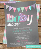 Printable Patchwork Stitch Baby Shower Invitation ($12)