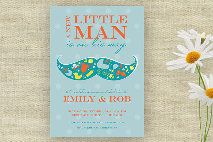 Printable Little Man Mustache Baby Shower Invitation ($15)