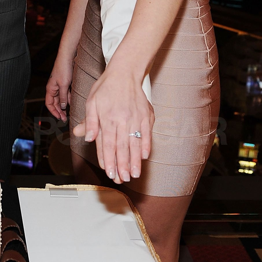 Britney debuted her engagement ring at Jason's Las Vegas birthday party.