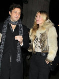 Kate Moss linked arms with Jamie Hince after a dinner in London.