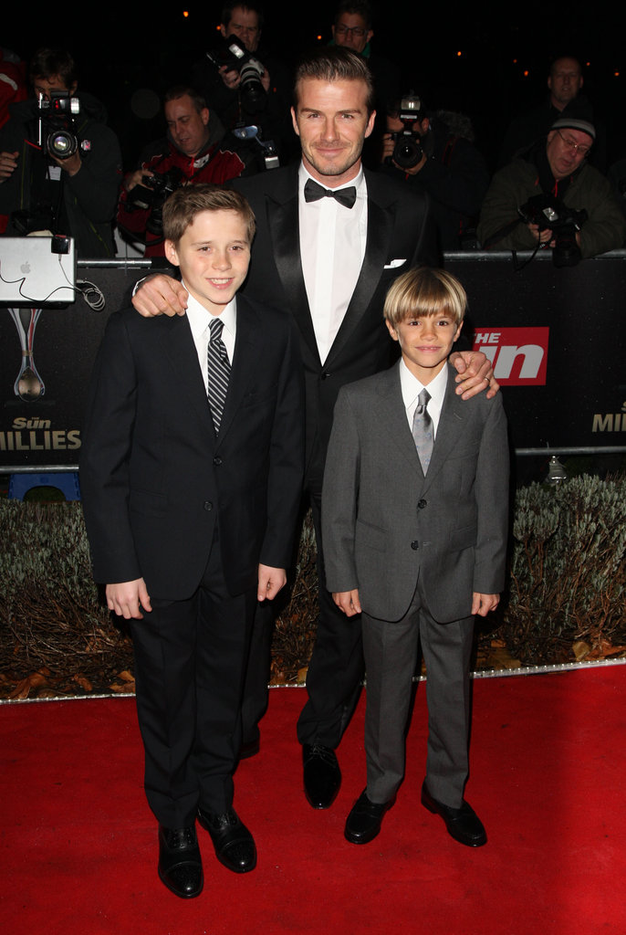 David, Brooklyn, and Romeo Beckham at the Sun Military Awards.