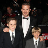 David, Brooklyn, and Romeo Beckham in suits at the Sun Military Awards in London.