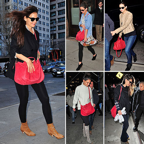 Pictures of Katie Holmes with her red Claire Vivier Handbag: Stalk Her Style and Nab Your Own Scarlet Tote Too!