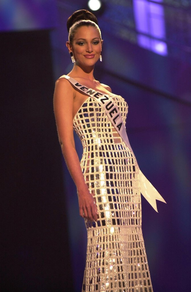 Eva Ekvall poses at the Miss Universe 2001 show in Bayamon, Puerto Rico.