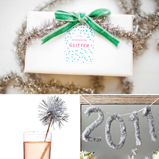 You can load up on tinsel at after-Christmas sales, then use it to decorate everything from paper goods to swizzle sticks. Or use it to make a large banner with the new year! Photos via 100 Layer Cake