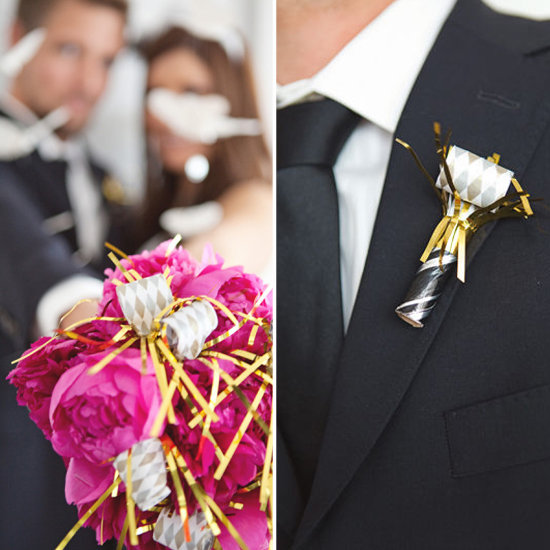 Don't just use noisemakers, decorate with them! You can add them to a bouquet and even use them as boutonnieres with some metallic accents. Photos by Scott Lawrence Photography via Style Me Pretty