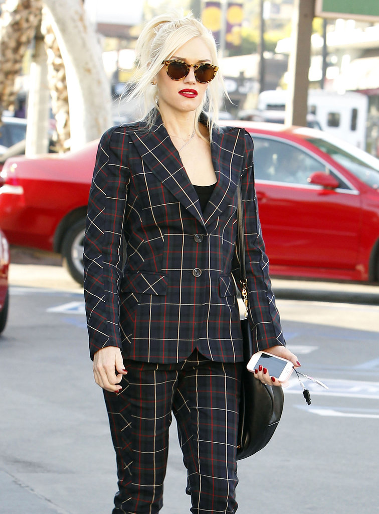 Gwen Stefani showed off her full plaid suit.