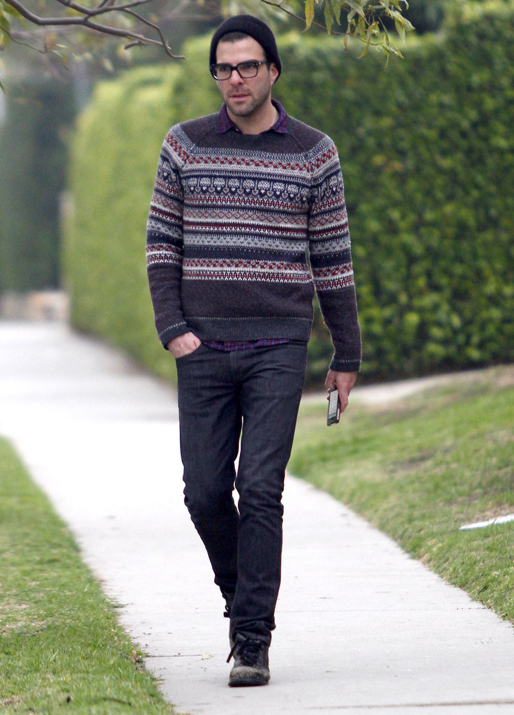 Zachary Quinto keeps his iPhone by his side.