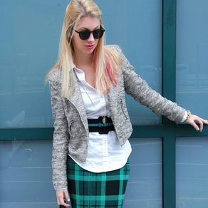 Plaid Skirt and Tweed Blazer