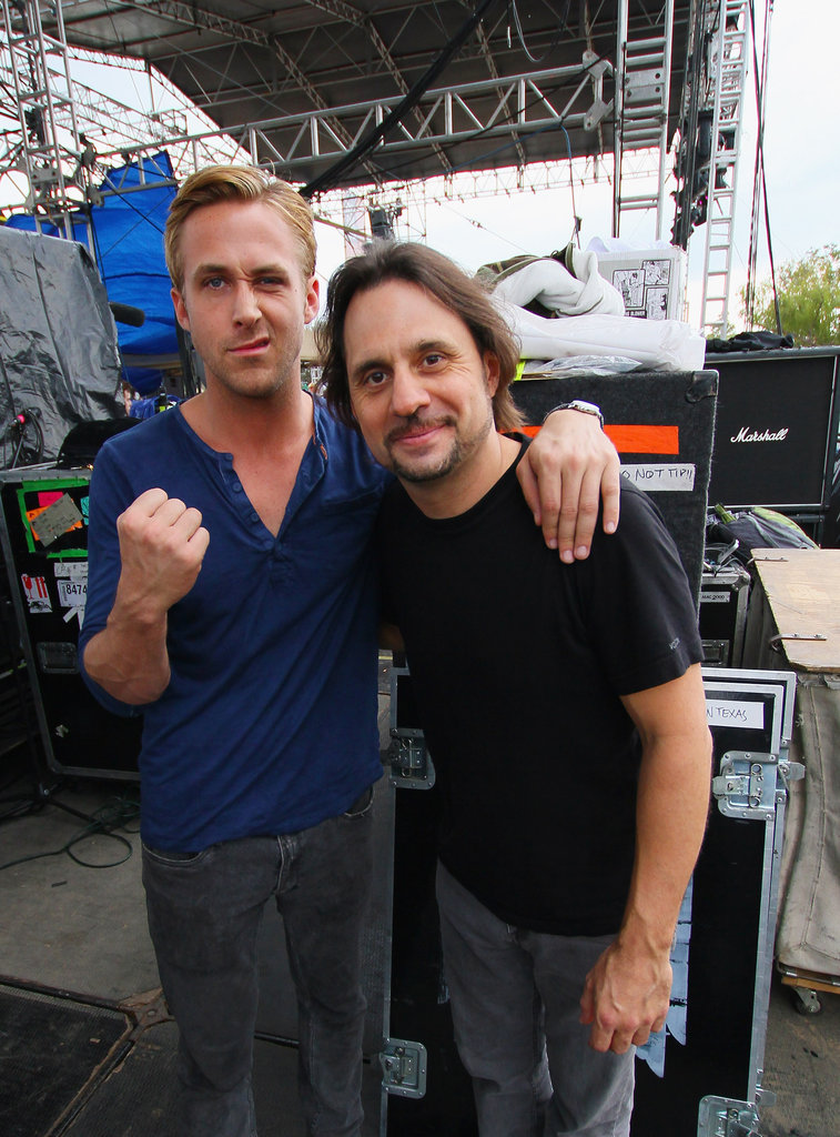 Ryan Gosling and Slayer drummer Dave Lombardo goof around backstage at the Fun Fun Fun Fest in Austin, TX.