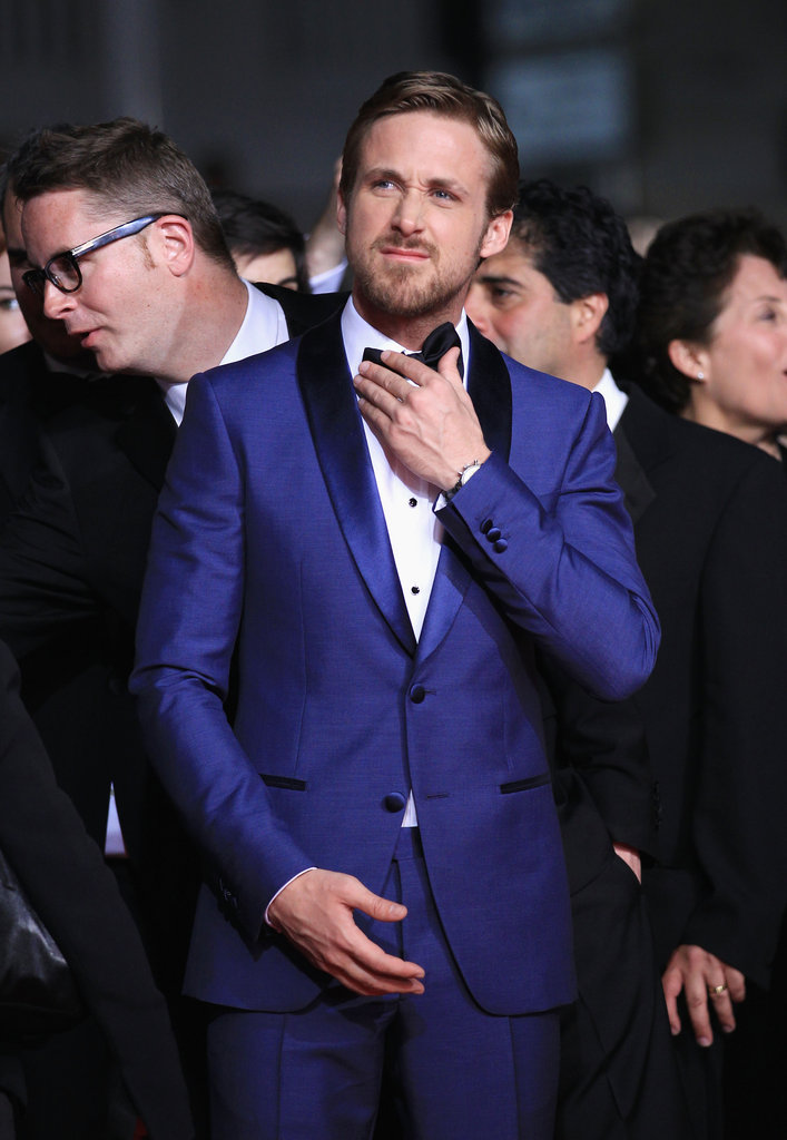 Ryan Gosling wrinkles his nose at the Drive premiere in Cannes.