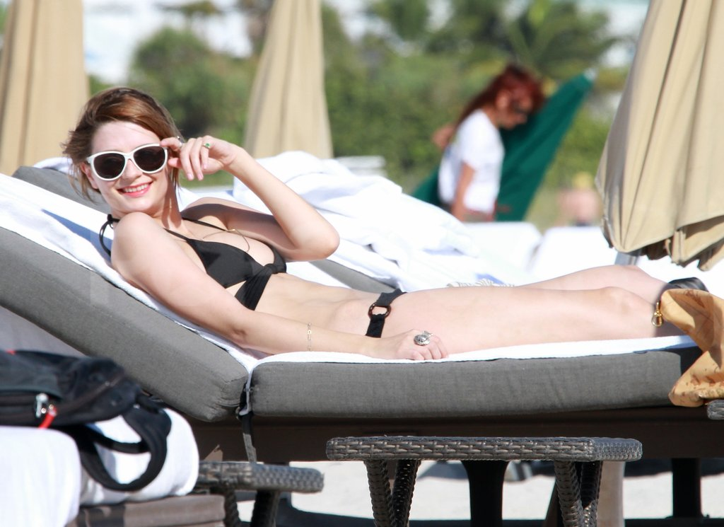 Mischa Barton smiled in white sunglasses in Miami.