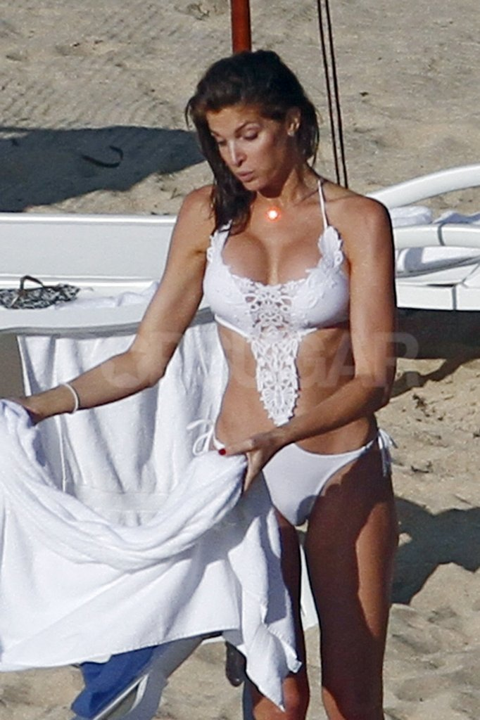 Stephanie Seymour caught some rays in a bright white bikini.