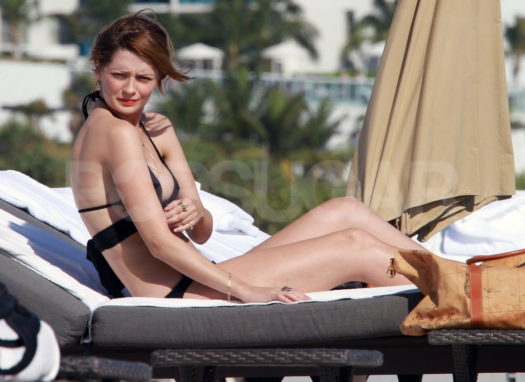Mischa Barton was sunbathing in her black bikini.
