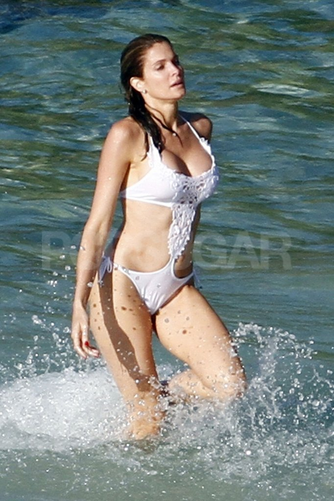 Stephanie Seymour made waves in St. Barts in a white lace bikini.