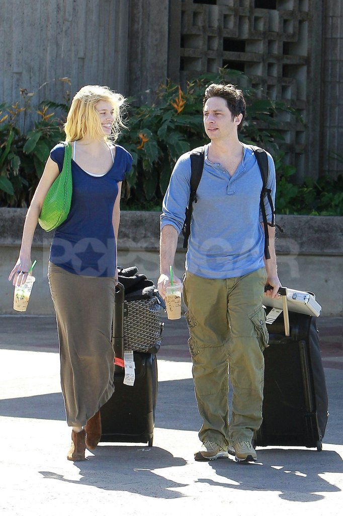 Zach Braff and Taylor Bagley rolled their suitcases out of the Maui airport.