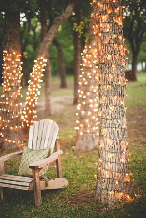 Wrap fairy lights around tree trunks to create a special seating area in your garden. Source