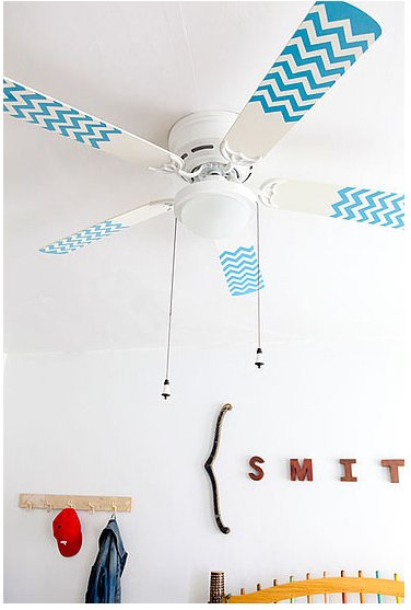 Design Sponge shows us how to make chevron-patterned fan blades that are as cute as can be! Source: Design Sponge
