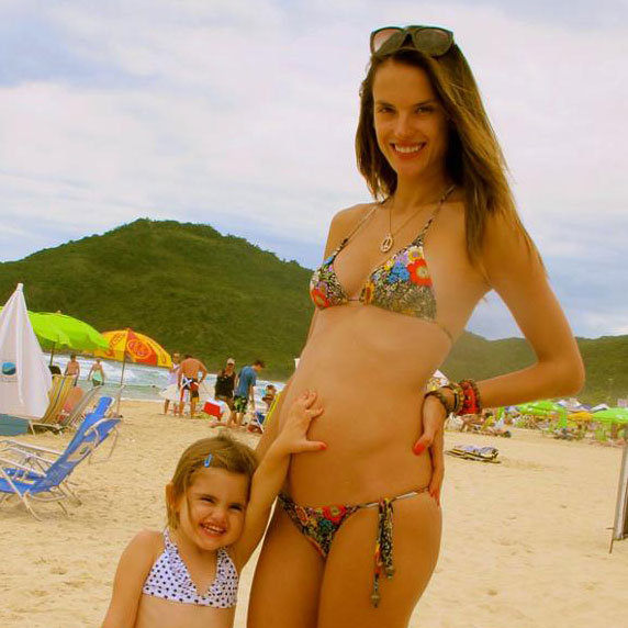 Alessandra Ambrosio Shows Off Her Baby Bump in a Bikini