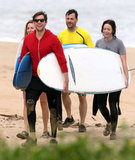 Emily Blunt and John Krasinski were all smiles after catching waves with Jimmy Kimmel and Molly McNearney.