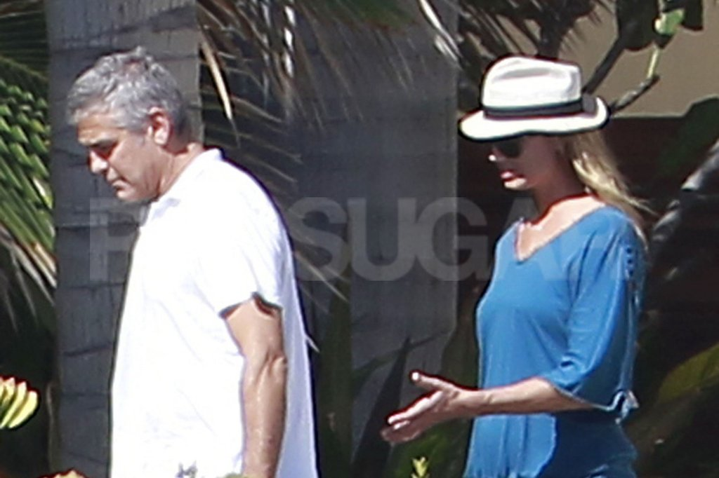 Stacy Keibler wore a hat as she walked with George Clooney in Mexico.