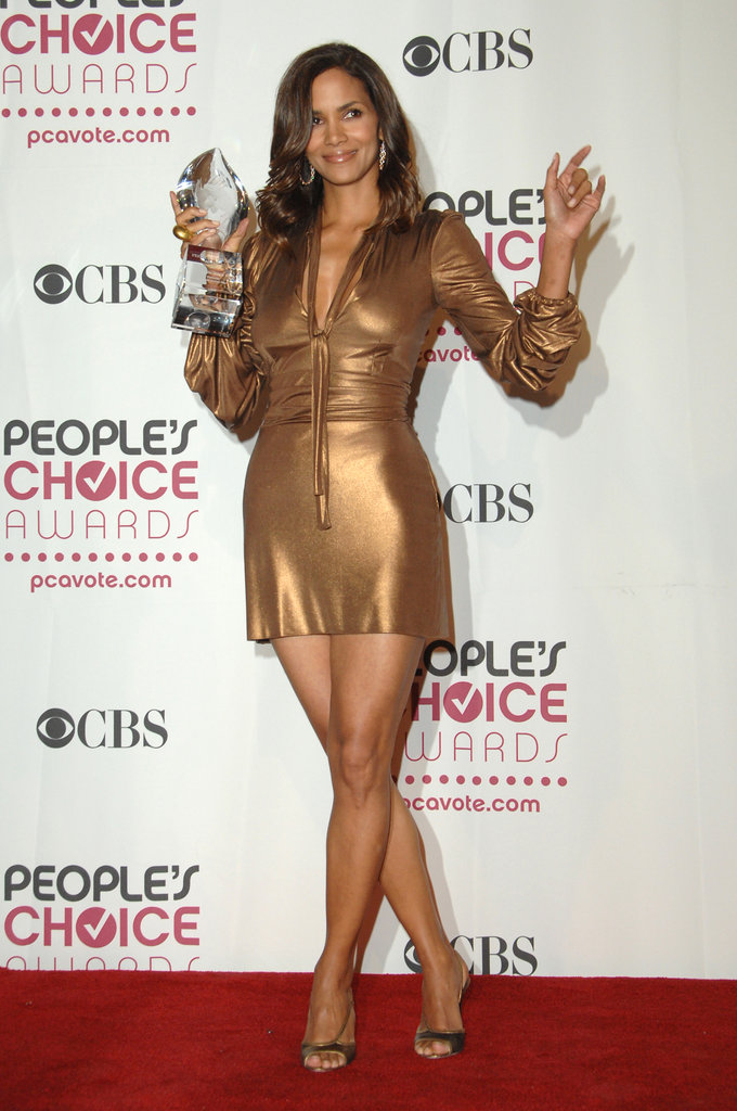 Halle Berry rocked a curve-hugging gold mini to the 2007 show.