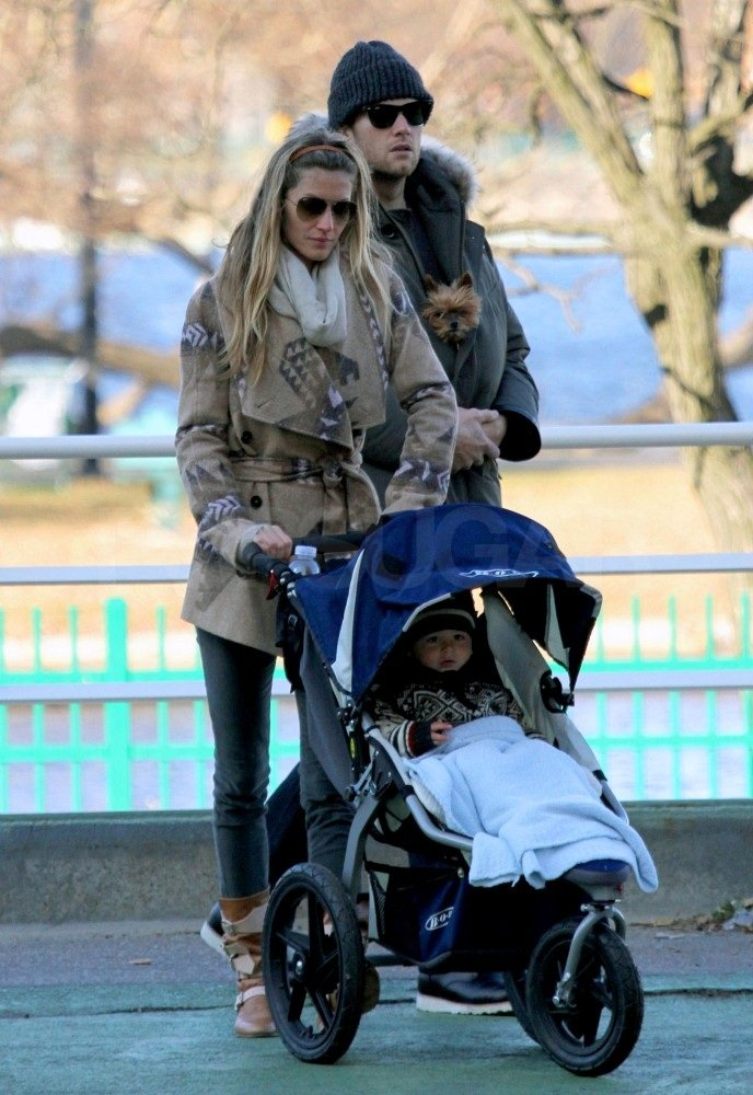 Gisele and Tom walked home with Benjamin.