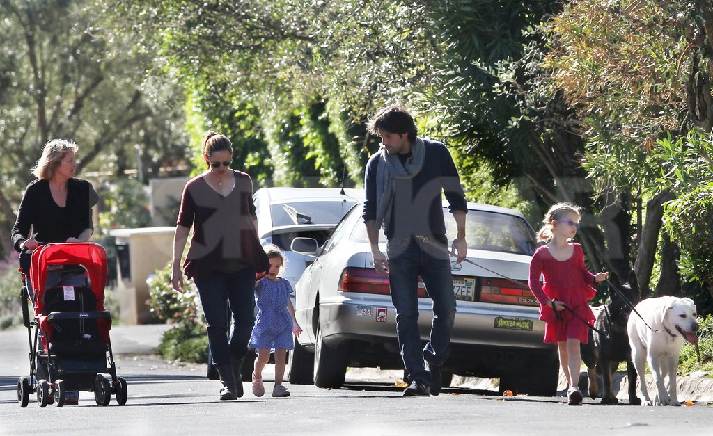 Ben Affleck, Jennifer Garner, Violet Affleck, Seraphina Affleck, and Pat Garner were out for a walk on New Year's Day.